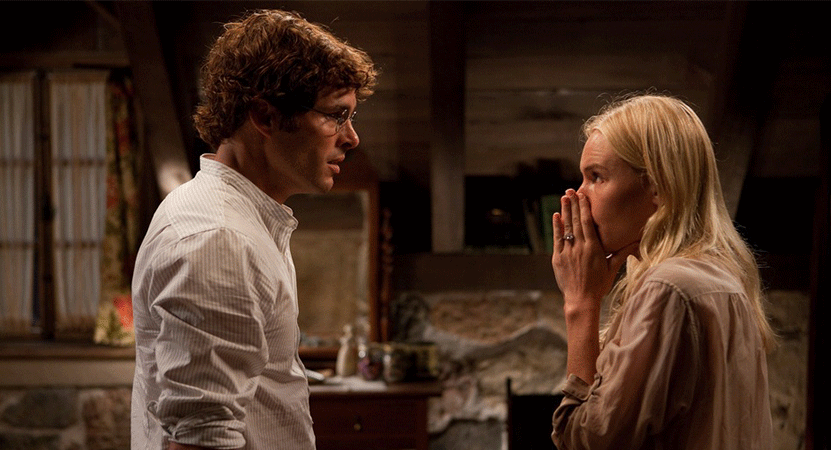 a man in a women have an intense conversation from the film Straw Dogs.