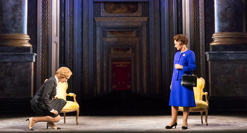 a women bows to another from the national theatre live production of The Audience