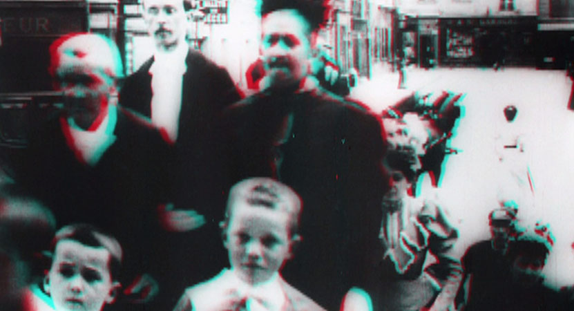 distorted image of a group of people from the film The Guests