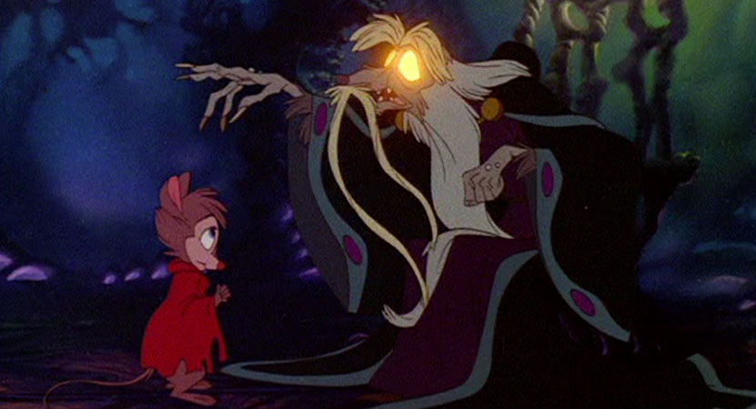 an old mouse with glowing eyes talks to a young mouse from the animated film The Secrets of NIMH.