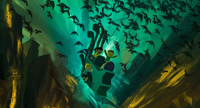 illustration of kids in a cave of birds from the film Tito e os Pássaros (Tito and the Birds)