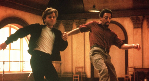 Still image of two men dancing from the film White nights.