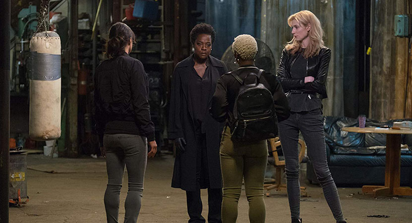 a group of women stand together from the film Widows